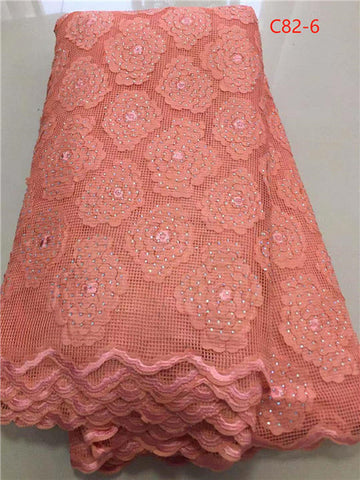 Image of African Lace Fabric High Quality French Net Embroidery Tulle Lace Nigerian  Fabric For Wedding Party Dress DPAU154