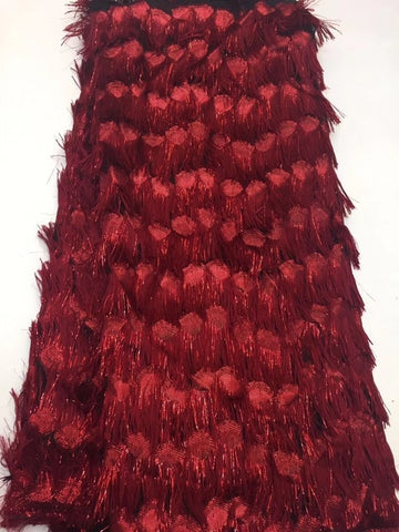 Image of African Lace Fabric High Quality Lace, African Lace Fapric Burgundy, 3D Applique Bridal French Lace RF401
