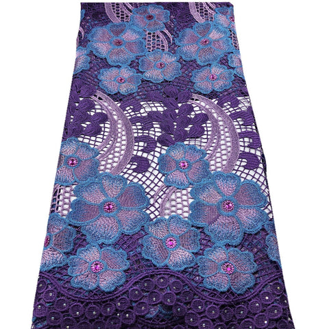 Image of African Lace Fabric Purple Color Guipure Lace Fabric 2020 High Quality Nigerian Cord Lace Fabric For Wedding Dress mv565