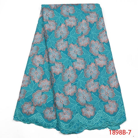Image of African Lace Fabric Swiss Voile Lace In Switzerland High Quality Navy Blue Lace Nigerian Lace Fabrics For Wedding 2018 NA1898B-1
