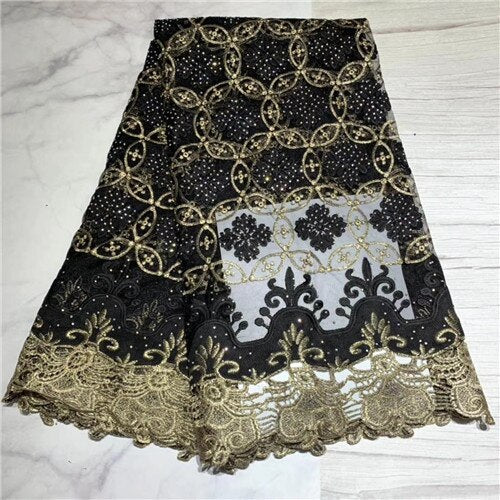 African Lace Fabric With  Stones Nigerian Wedding gold thread Embroidered French Tulle Lace Material For Bridal    DFJUL202