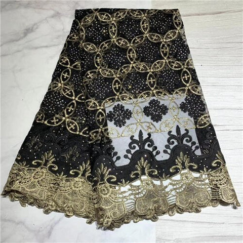 Image of African Lace Fabric With  Stones Nigerian Wedding gold thread Embroidered French Tulle Lace Material For Bridal    DFJUL202