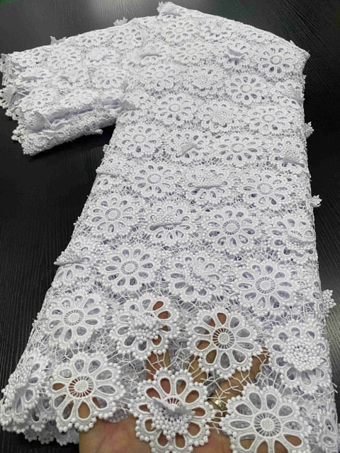 African Lace Fabrics 2020 High Quality Nigerian Cord Guipure Lace Fabrics Bride French Lace Fabric For Dress Sewing YA3391B-4