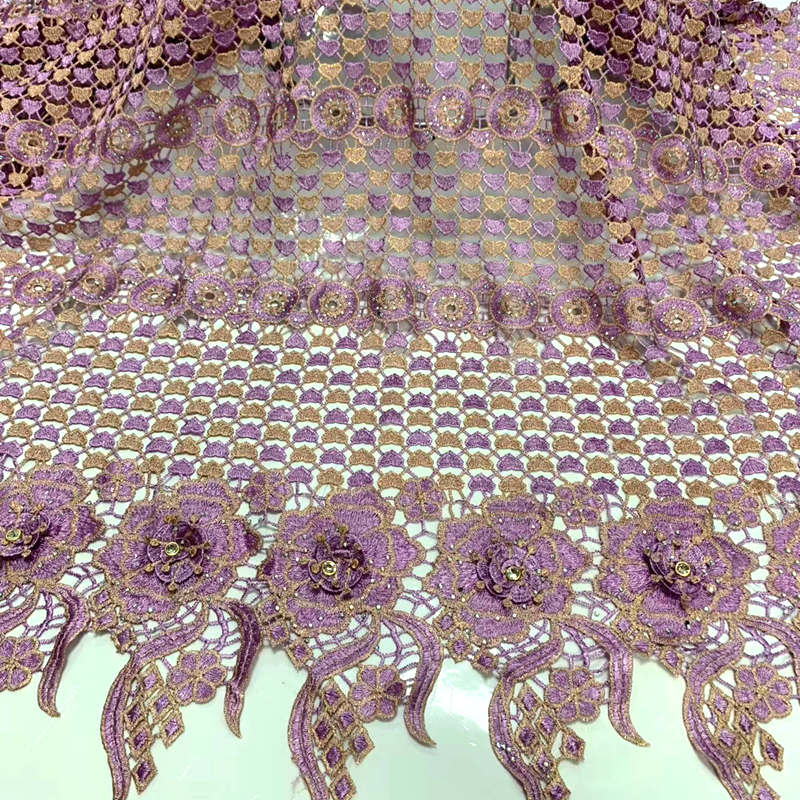 African Lace Hot Sell Mesh 2020 New Arrival Lilac Gold Color african cord Lace /guipure lace Fabrics with diamond High Quality