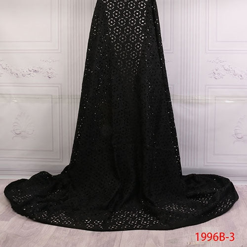 African Laser Cut Lace Fabric Beautiful Style Nigerian Black Color Laser Cut Lace Fabric With Stones For Bride Derss AMY1996B-1