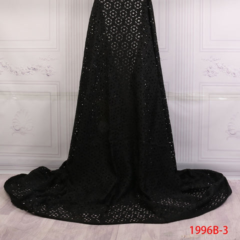 Image of African Laser Cut Lace Fabric Beautiful Style Nigerian Black Color Laser Cut Lace Fabric With Stones For Bride Derss AMY1996B-1