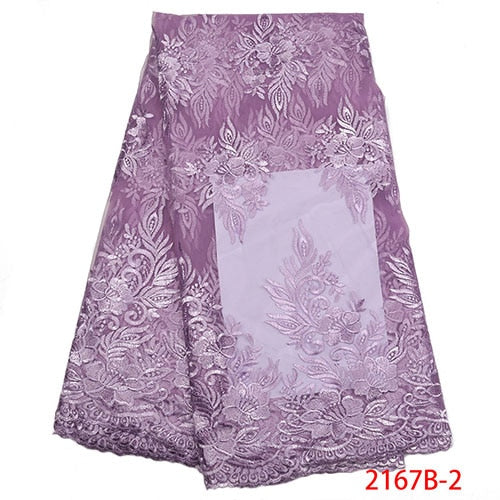 African Mesh Lace Fabric 2018 High Quality Lace Embroidered Nigerian French Guipure Tulle Laces Fabric For Women Dress XY2167B-5