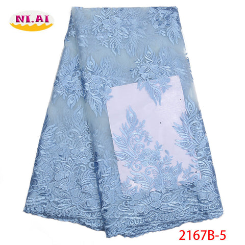 Image of African Mesh Lace Fabric 2018 High Quality Lace Embroidered Nigerian French Guipure Tulle Laces Fabric For Women Dress XY2167B-5