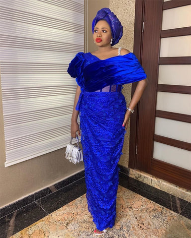 Image of African Mesh Lace Fabric 3 d Lace 2019 High Quality Beads Trim Bridal Embroidery Lace Royal Blue Nigerian Lace Dress NA2665B-1