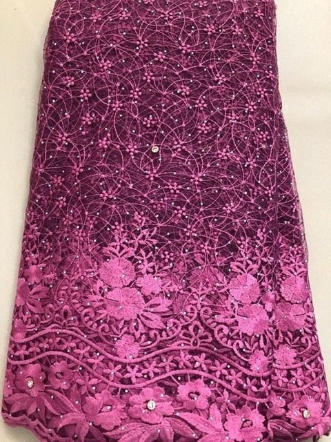 African Milk Lace Embroidery African tulle Lace 2019 Switzerland French Nigerian Lace Fabrics High Quality FLL3965 Coral purple