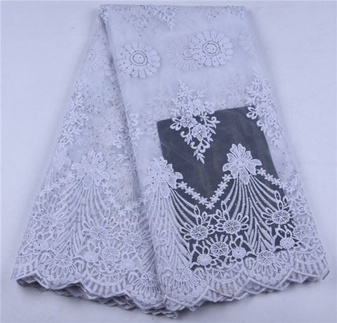 Image of African Net Lace Fabric 2019 Latest Nigeria Lace Fabric With Embroidery African Mesh Tulle Lace Fabric For Wedding Party A1653
