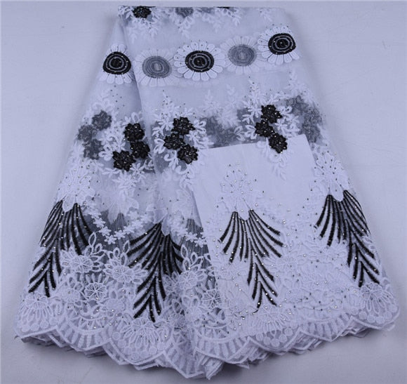 African Net Lace Fabric 2019 Latest Nigeria Lace Fabric With Embroidery African Mesh Tulle Lace Fabric For Wedding Party A1653