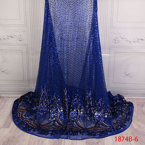 African Sequins Lace Fabric 2018 Embroidered Nigerian Laces Fabrics High Quality French Tulle Lace Fabric For Women XY1874B-7