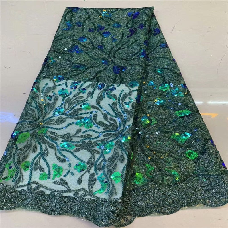 African Sequins Lace Fabric 2019 green High Quality Guipure French Sequins Tulle Lace Dress Nigeria Lace Fabric For Wedding