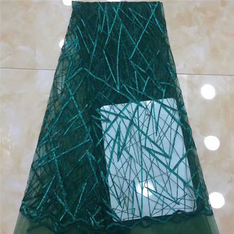 Image of African Sequins Lace Fabric 2020 High Quality Lace Nigerian French Net Tulle Lace Fabrics For Lace Evening Dresses DPA12