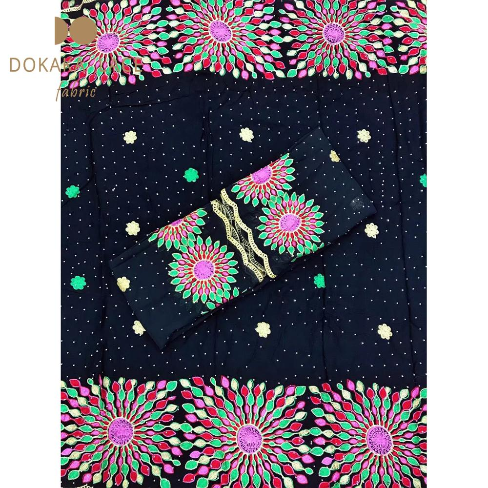 African Stones Cotton Embroidered Laces Fabrics Black Color 5+2 Yards Nigerian Women Wedding Bride Dresses Laces Cotton Fabrics