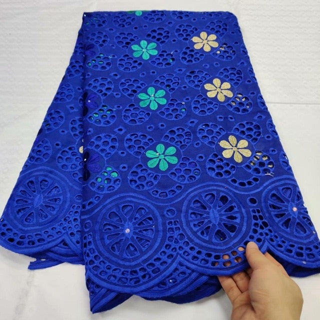 African Swiss Voile Lace in Switzerland Tissu Dentelle Royalblue Nigerian Lace Fabric African Dress For Women Swiss Lace Fabric