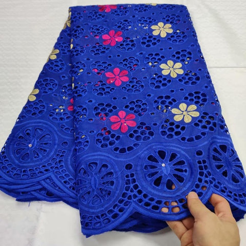 Image of African Swiss Voile Lace in Switzerland Tissu Dentelle Royalblue Nigerian Lace Fabric African Dress For Women Swiss Lace Fabric