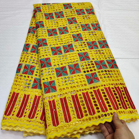 Image of African Swiss Voile Laces in Switzerland Cotton African Dry Cotton Lace Fabric High Quality Hollow Out Nigerian Voile Lace