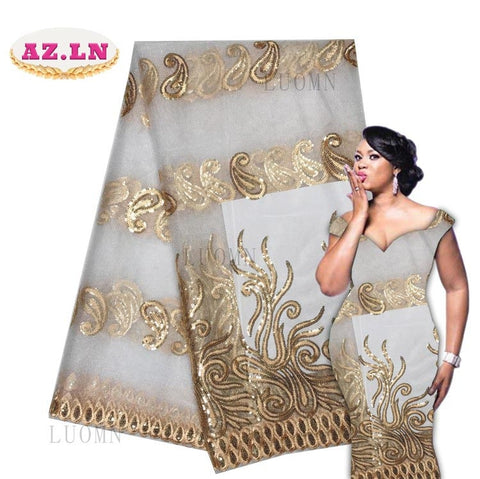 Image of African White Lace Fabric High Quality Tulle African French Net Lace With Stones African Lace For Nigerian Wedding LUON