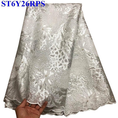 Image of African lace fabric 100% High quality Hand cut Sequins Embroidered Organza Lace Fabric Sequins For Clothing XYP3004
