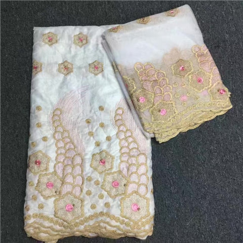 Image of African lace fabric 5yds bazin riche+2yds net water soluble fabrics cotton material women party event dresses 2019 high quality