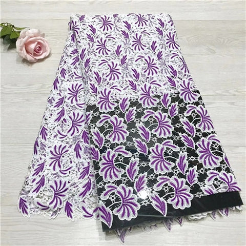 Image of African lace fabric 5yds/pce dhl two color water soluble cotton material women gorgeous luxury party event dress 2019 new