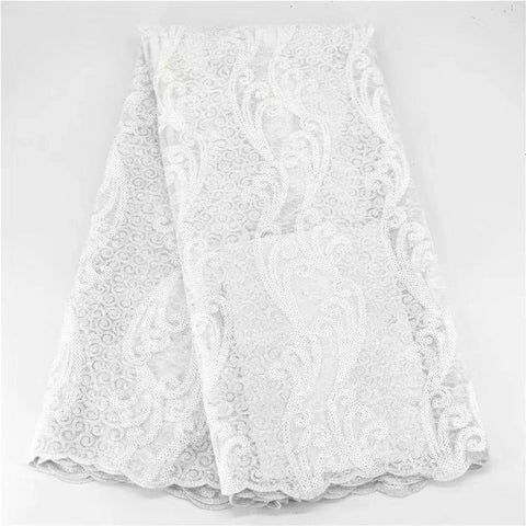 Image of African organza Lace Fabric 2020 high quality French Mesh Lace Fabric With Sequins Nigerian Lace Fabric For Wedding dress