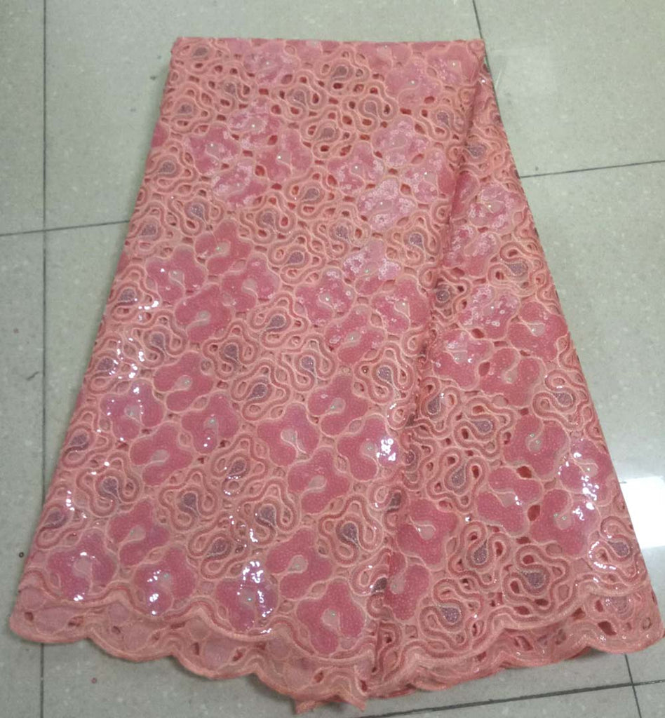 African peach Lace Fabric 2019 Nigerian Sequins Laces Fabric High Quality French Organza Lace Fabric For Dress