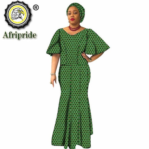 Image of African traditional maxi dresses for women plus size dashiki dress+headwrap ankara print wax batik vintage AFRIPRIDE S1925054