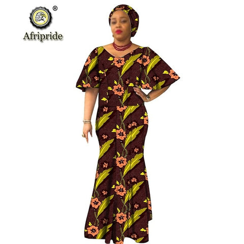 African traditional maxi dresses for women plus size dashiki dress+headwrap ankara print wax batik vintage AFRIPRIDE S1925054