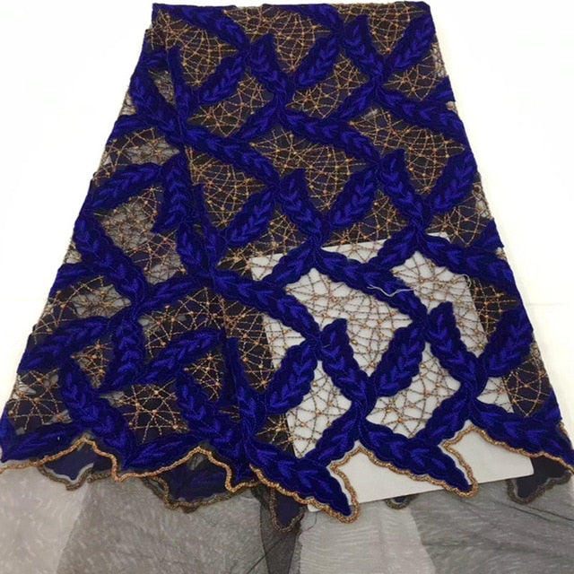 African velvet Lace 2018 High Quality French Lace Fabric Royal Blue Color African Lace Fabric For Nigerian Wedding Dress AD211