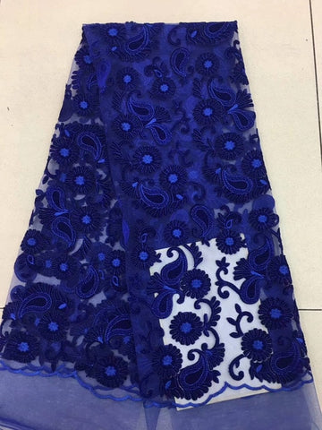 Image of African velvet Lace 2018 High Quality French Lace Fabric Royal Blue Color African Lace Fabric For Nigerian Wedding Dress AD211