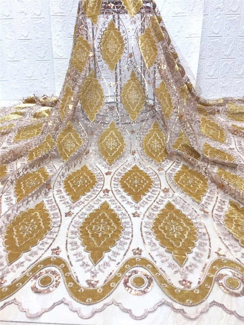 African velvet Lace French Tulle Mesh Laces Fabrics High Quality Sequins Embroidery Wedding Dress Nigerian Lace Fabric FJA26-3