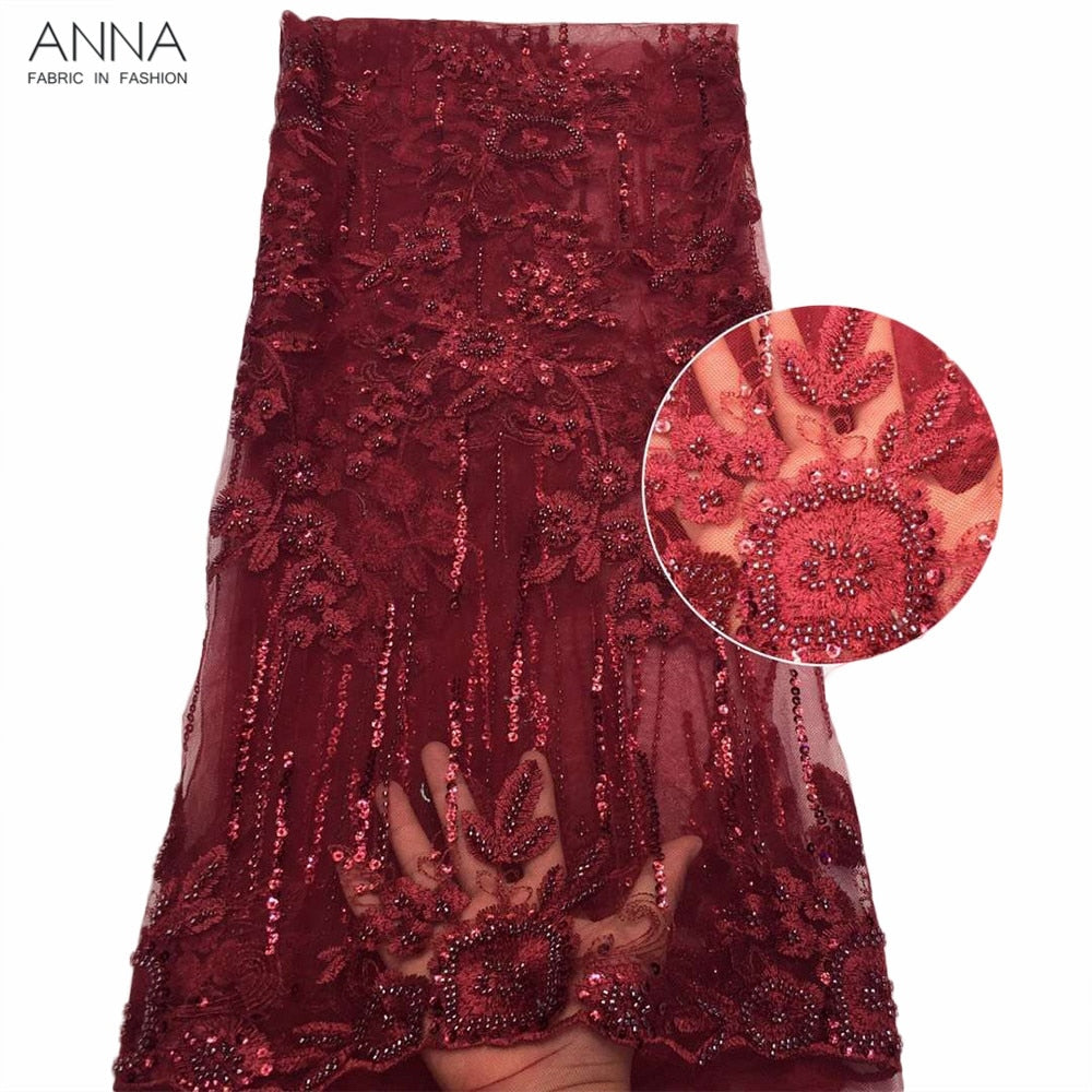 Anna high quality red embroidery african Handmade beaded lace fabric 2019 latest french net laces fabrics 5 yards/pcs for sewing