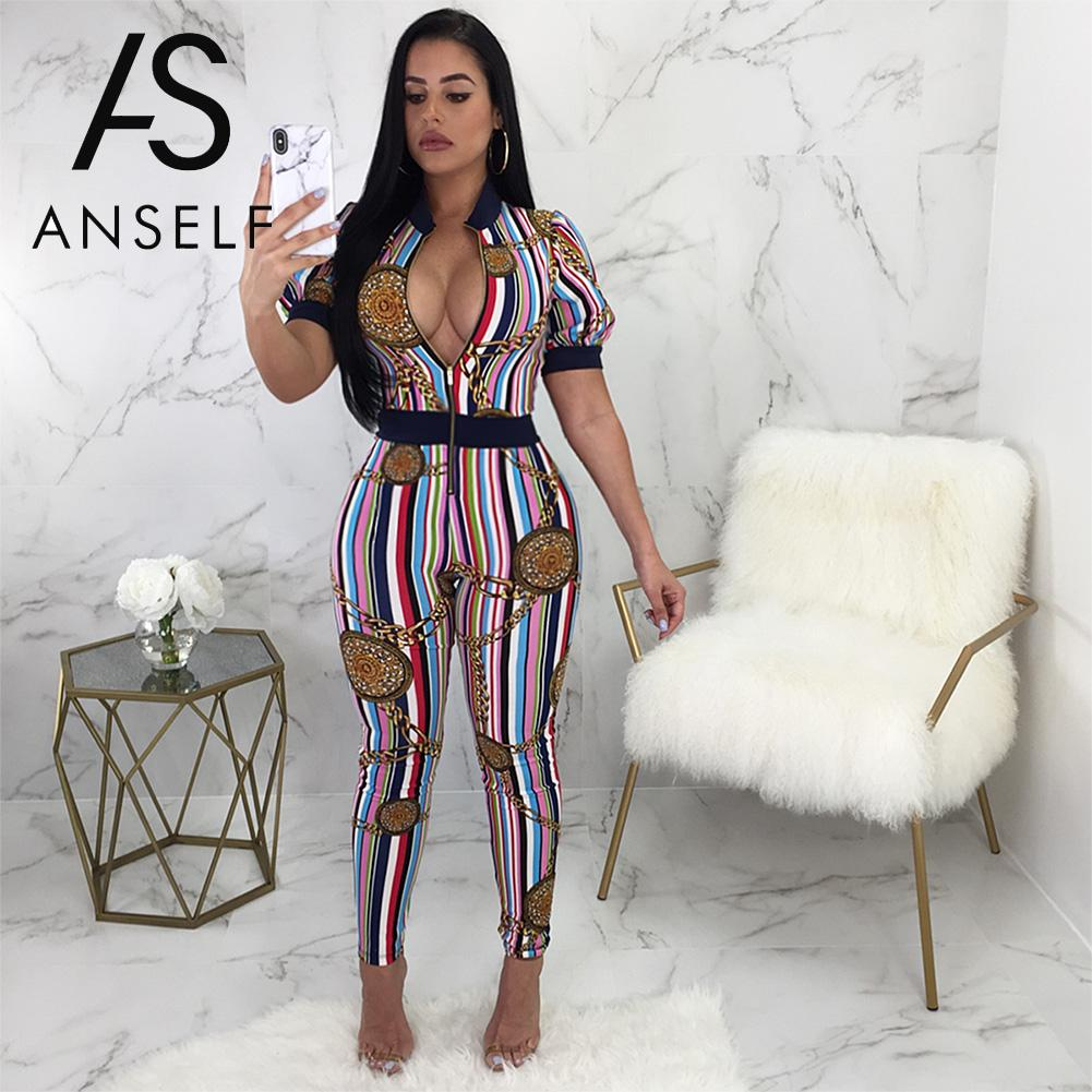 0008a183583 Hover to zoom. PrevNext. Image of Anself Rompers Womens Jumpsuit Chain  Colorful Striped Print Zipper Short ...