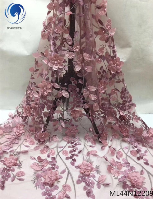 BEAUTIFICAL 3d lace fabric with beads net lace fabric for wedding dress nigerian lace fabric 2019 sales 5 yards/lot ML44N122