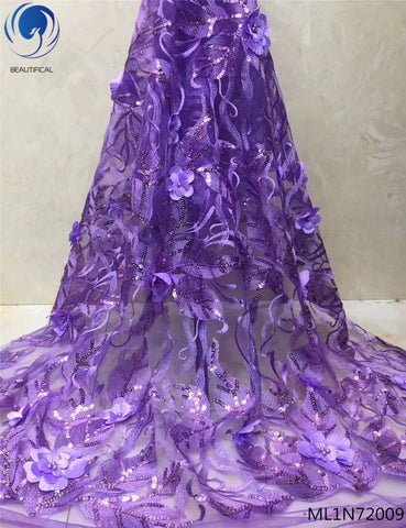 Image of BEAUTIFICAL african lace fabric wedding lace 3d fabric with bling sequins and beads 5 yards/lot materials purple color ML1N720
