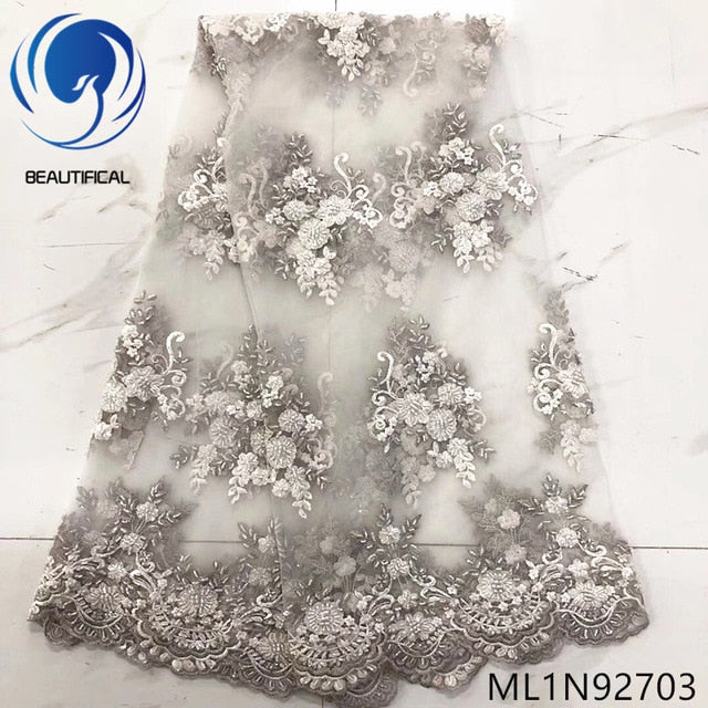 BEAUTIFICAL french tulle lace dresses high quality 2019 nigerian wedding lace fabric 5 yards ML1N927