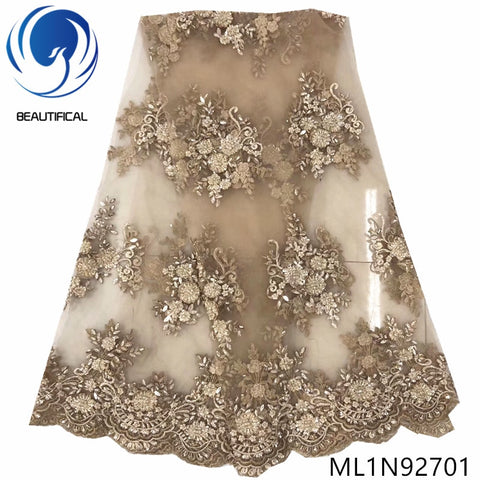 Image of BEAUTIFICAL french tulle lace dresses high quality 2019 nigerian wedding lace fabric 5 yards ML1N927