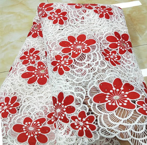 Image of BEST High Quality African Lace Fabric For party 2018 Embroidered France Lace Fabrics White+Fuchsia nigerian Guipure Cord Lace