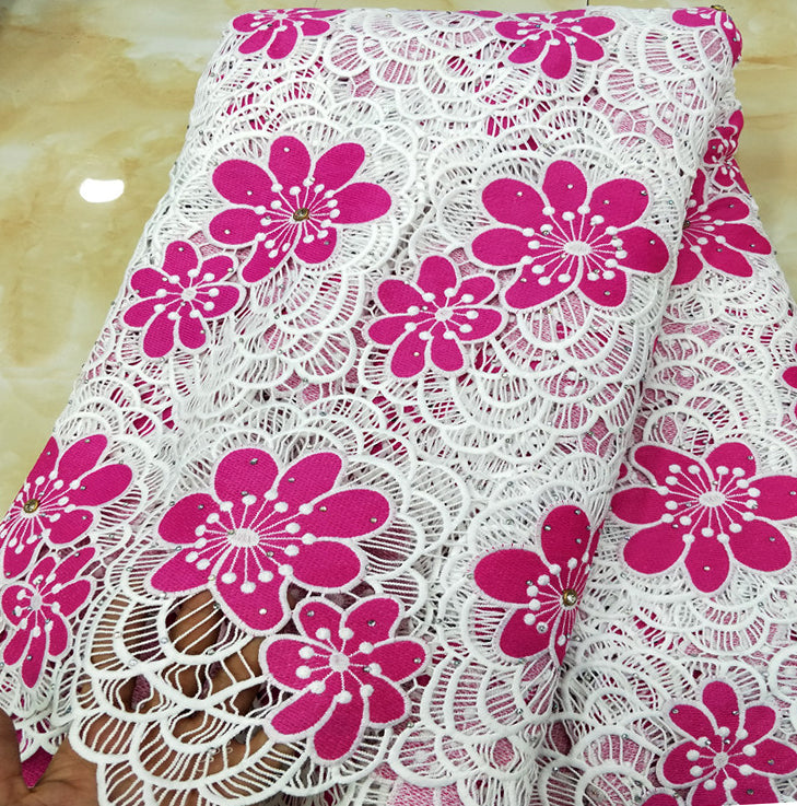BEST High Quality African Lace Fabric For party 2018 Embroidered France Lace Fabrics White+Fuchsia nigerian Guipure Cord Lace