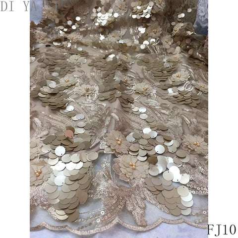 Image of Beaded 3d flowers lace fabric 3d lace fabric  fabric flower net lace fabric with sequins and bead african lace fabric FJ10