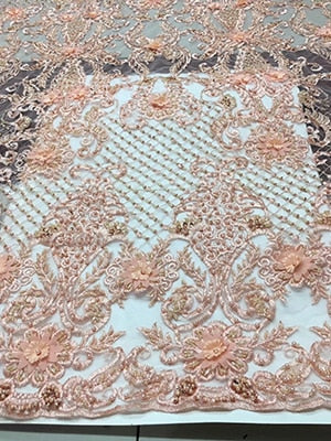 Beaded 3d flowers lace fabric 3d lace fabric  fabric flower net lace fabric with sequins and bead african lace fabric FJ10