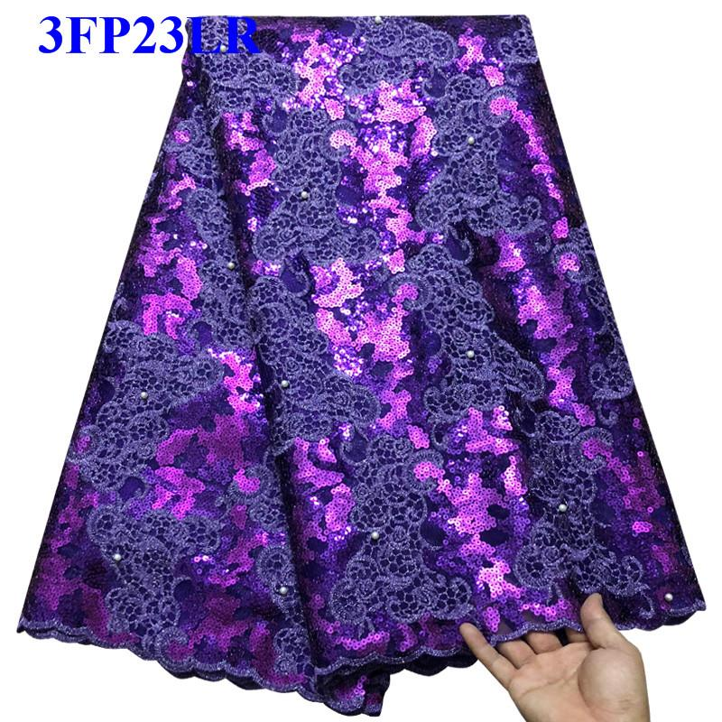 Beaded Lace Fabrics 2018 Purple African Lace Fabric High Quality sequins French Nigerian Lace Fabric For Wedding Dress LO002