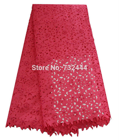 Image of Beaded laser cut lace fabric high quality fushia pink african lace fabrics for sewing accessories with stones laser cut