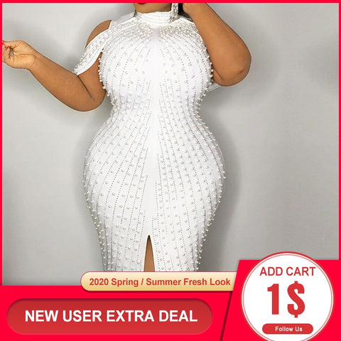Image of Beading White Plus Size Bodycon Dress 5xl 2020 Sexy Party Dinner Club Midi Dresses Robe Elegant Split Female Vestidos Summer