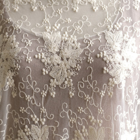 Beautiful 135cm Width 1M/lot 3D Embroidered Beige Lace Fabric Soft Net Fabric Sewing Curtain DIY Craft Accessory X645