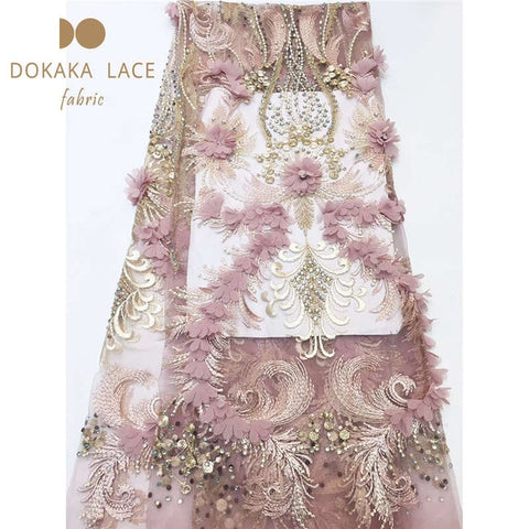 Image of Beautiful 3D Flower Applique Laces With Stones Nigerian Peach Bridal Wedding Mesh Material 3D Rhinestones Embroidered Net Sewing