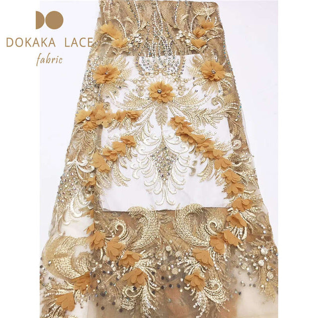 Beautiful 3D Flower Applique Laces With Stones Nigerian Peach Bridal Wedding Mesh Material 3D Rhinestones Embroidered Net Sewing